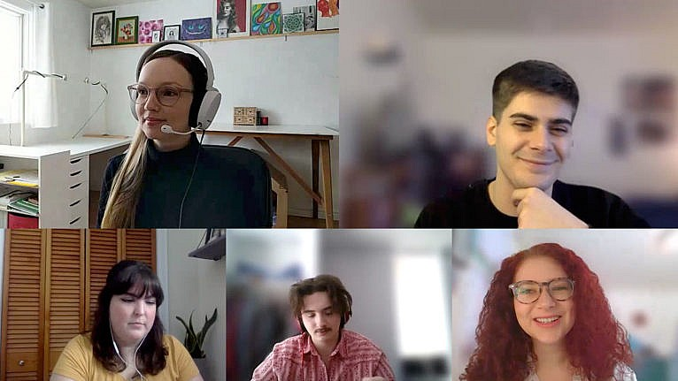 Baillie (top right) on a video call with other Bishop's students who were hired to work with professors to design courses for online delivery (Loch Baillie)