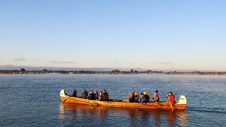 Algoma University students in a canoe