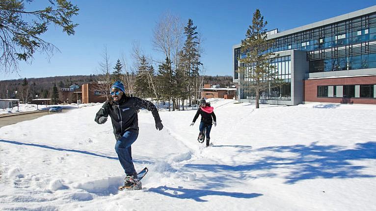 Nipissing University students cross country skiing