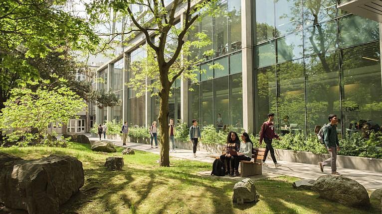 Waterloo University students walking on campus