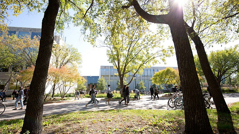 University of Manitoba students on campus in the summer