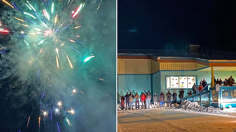 People celebrate with fireworks in Old Crow, Vuntut Gwitchin First Nation, after a day of vaccinations. (Charyl Charlie)