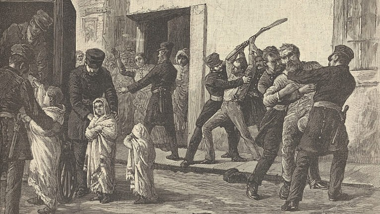 """An illustration from Harper's Weekly, November 28, 1885: """"An incident of the smallpox epidemic in Montreal,"""" by Robert Harris (Courtesy of The New York Public Library)"""