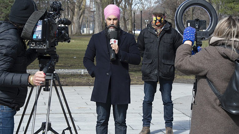 Singh and deputy leader Alexandre Boulerice hold a news conference in Montreal on March 29, 2021 (CP/Ryan Remiorz)