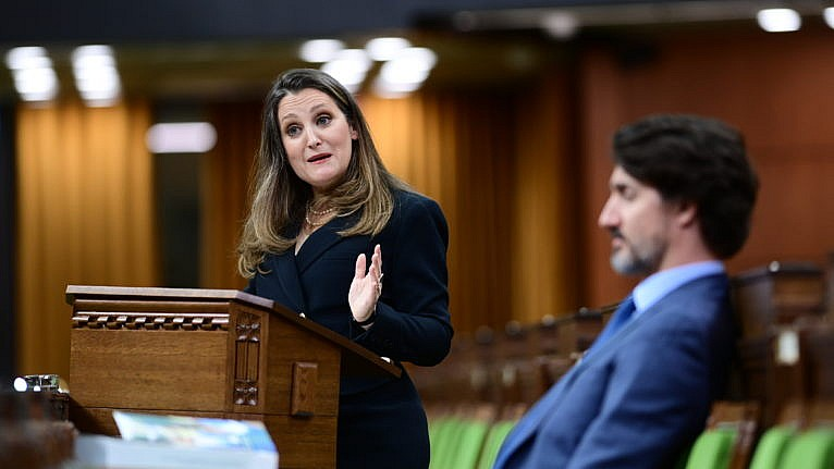 Freeland delivers the federal budget in the House of Commons on April 19, 2021 (CP/Sean Kilpatrick)