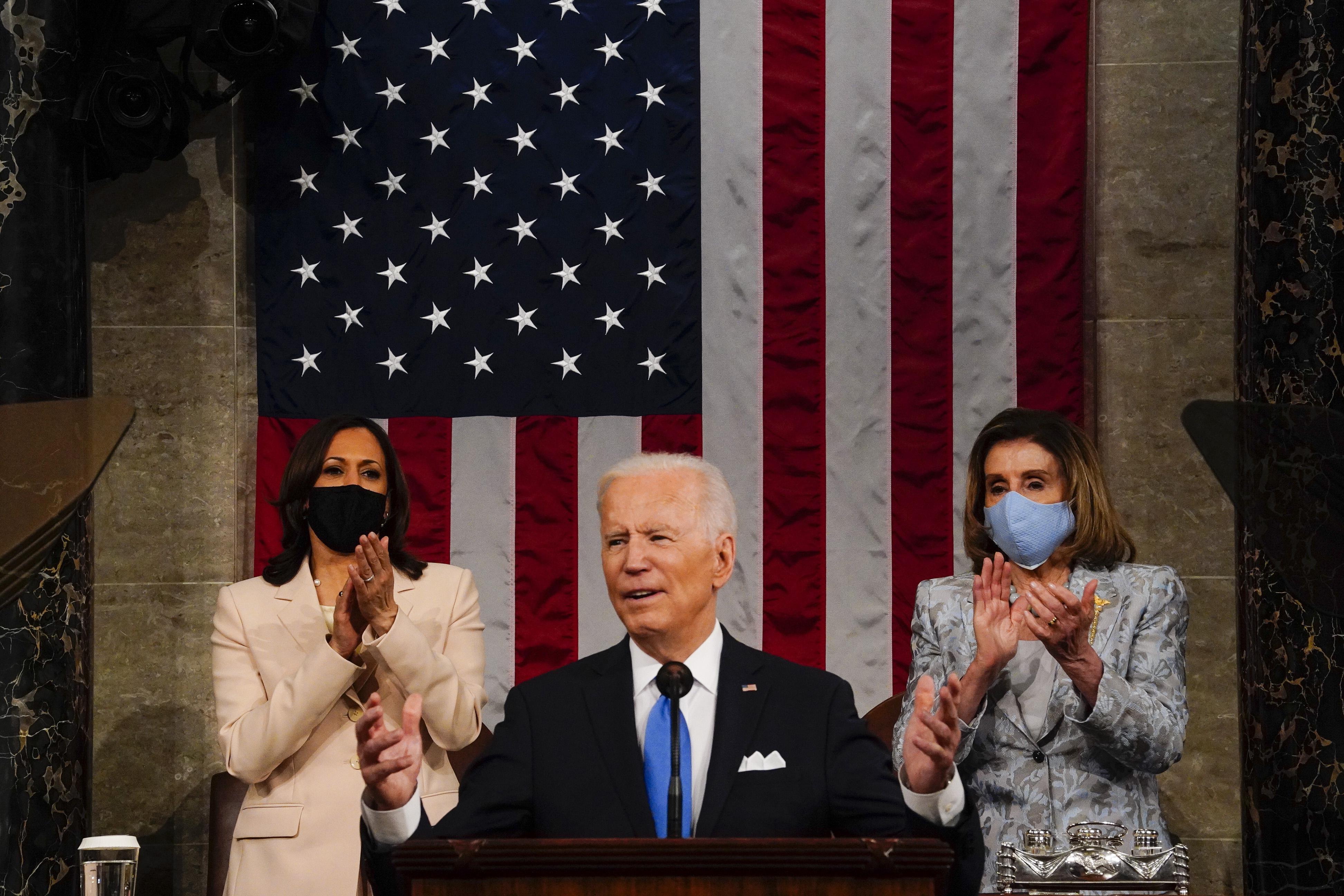 Kamala Harris and Nancy Pelosi make Biden's address a historic moment