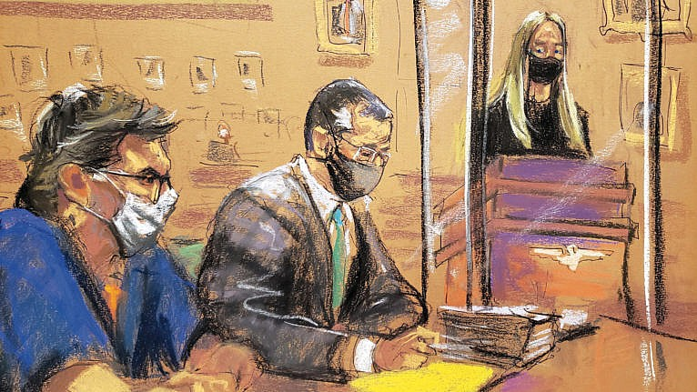 A courtroom sketch of Raniere's 2020 sentencing hearing; he was given 120 years in prison (Jane Rosenberg/Reuters)