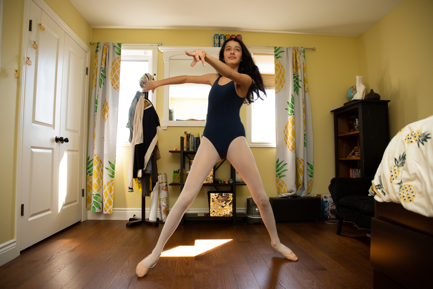 Mathur practices ballet in her room (Photograph by Vanessa Tignanelli)