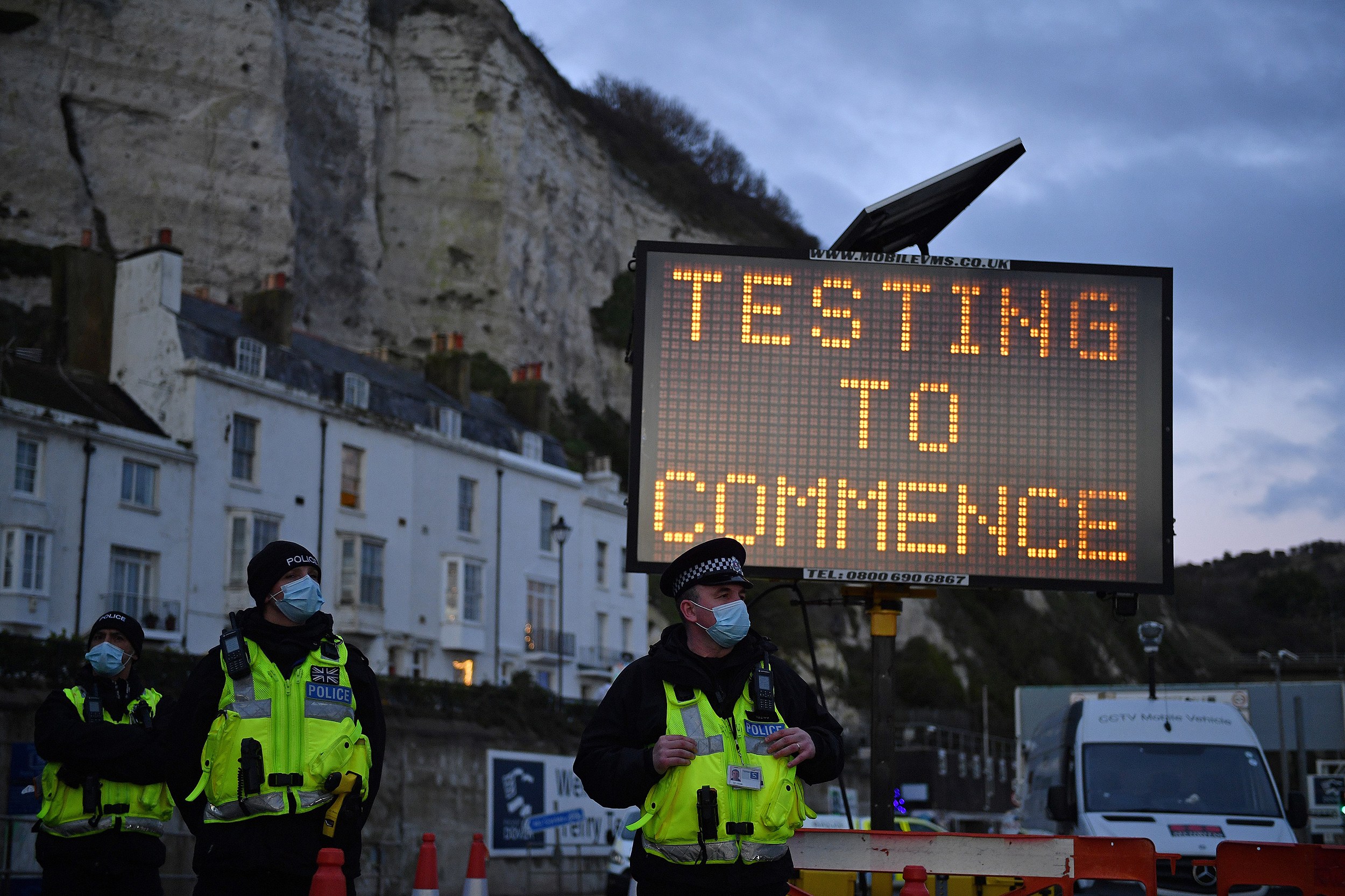 Testing at the Port of Dover in Kent, U.K.(Justin Tallis/AFP/Getty Images)