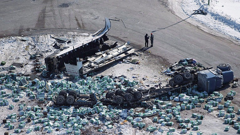 The wreckage from the April 6, 2018, collision of the truck driven by Sidhu and the Broncos bus (Jonathan Hayward/CP)