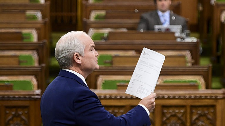 O'Toole rises during question period in the House of Commons on June 22, 2021 (Sean Kilpatrick/CP)