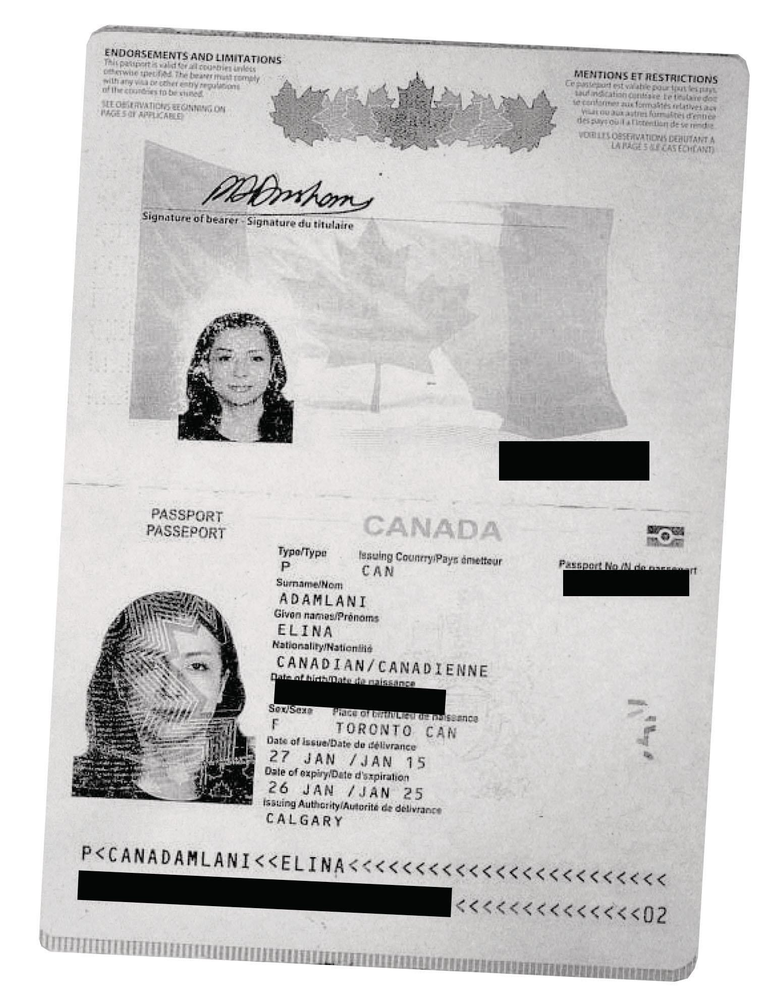 The falsified passport bearing Alizadeh's face and the name Elina Adamlani.