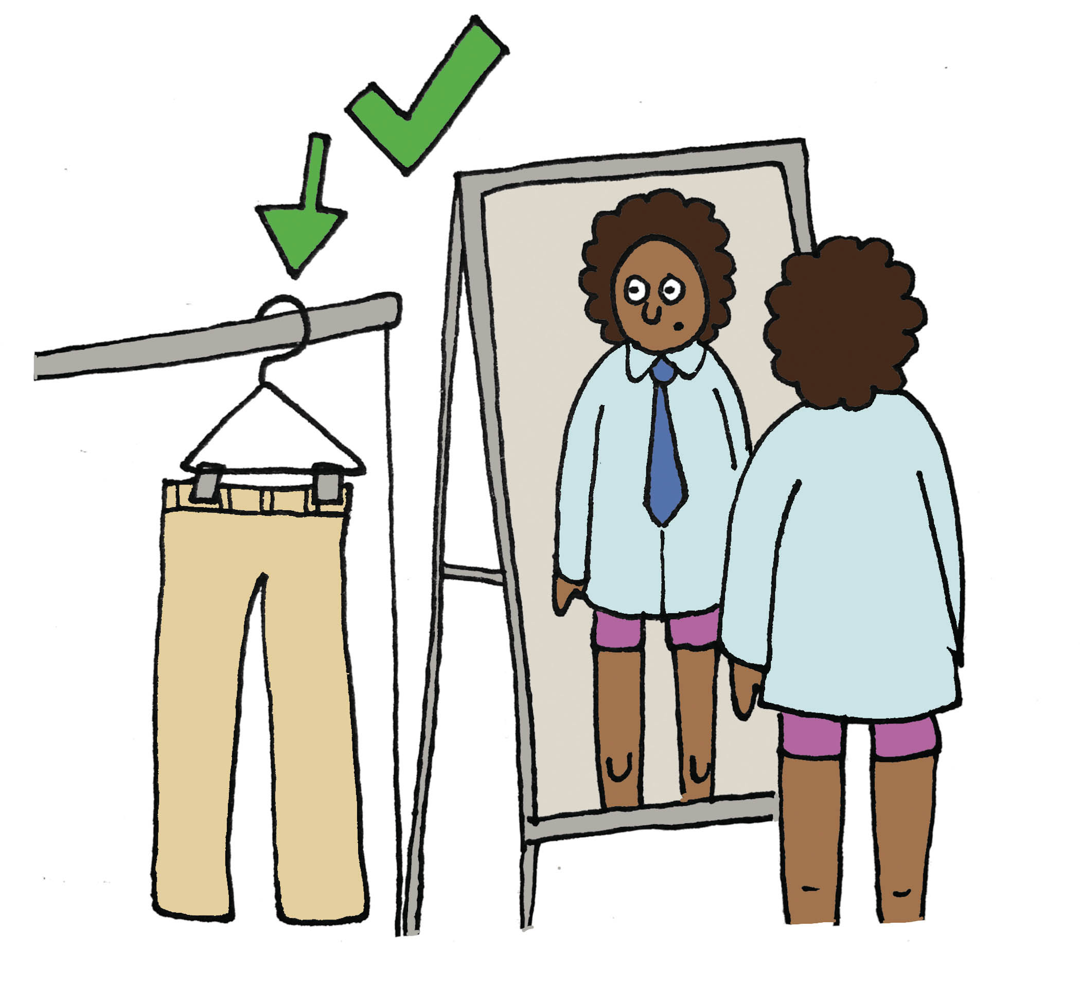 Getting dressed. (Illustration by Marie-Danielle Smith)