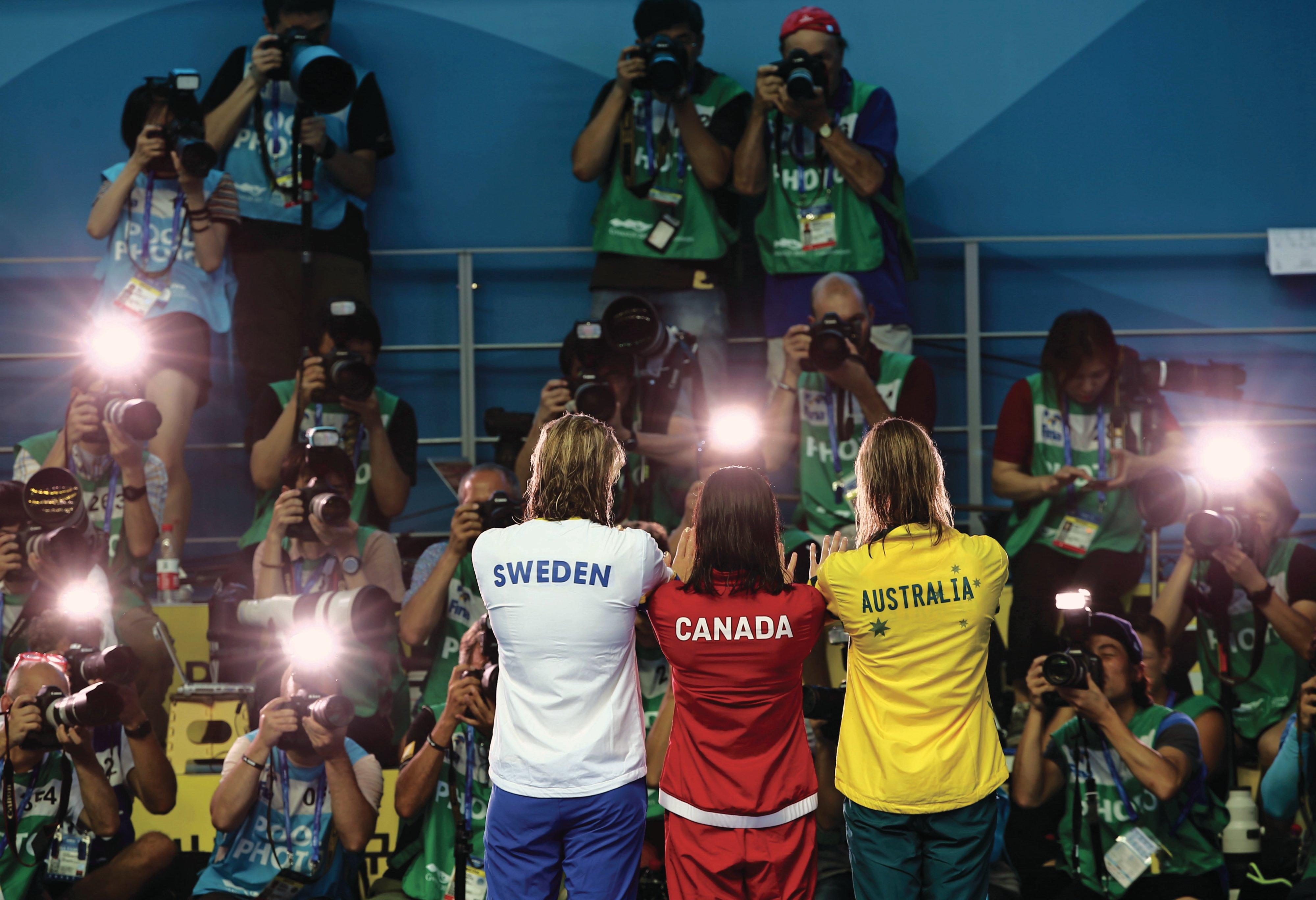 Sjöström, Mac Neil and Emma McKeon at the 2019 world championship (Antonio Bronic/Reuters)
