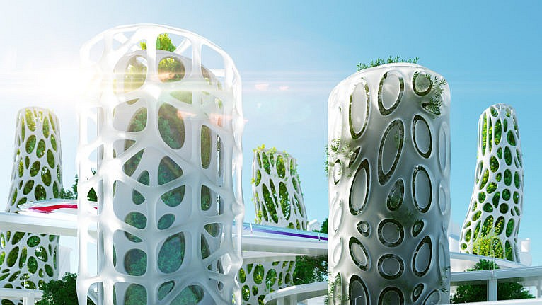 Digital generated image of abstract futuristic buildings with vertical gardens and speed train in between. (Andriy Onufriyenko/Getty Images)