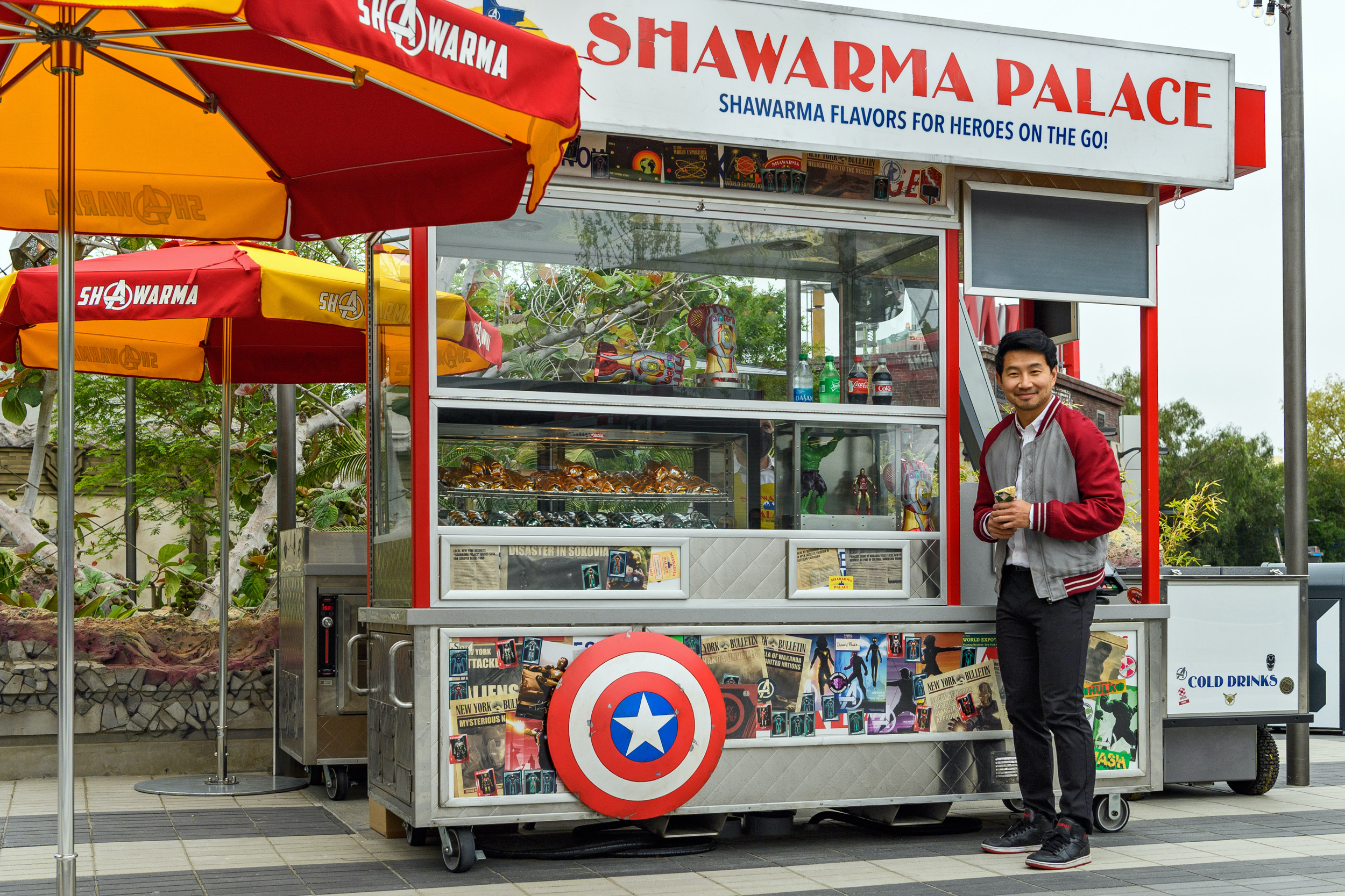 Liu visits Shawarma Palace in Avengers Campus at the Disneyland Resort (Richard Harbaugh/Disneyland Resort/Getty Images)