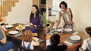 Lisa, Norbert and their kids (left) and Joanna and her family (right) at their respective dining room tables. (Photographs by Sylvie Li and Taylor Roades)