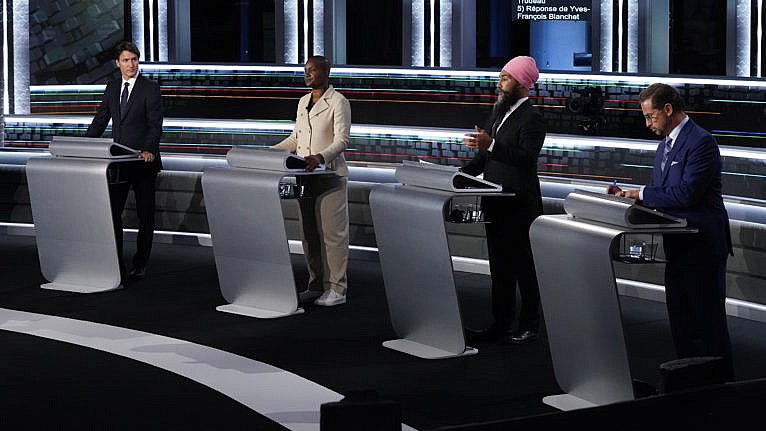 Trudeau, Paul, Blanchet and Singh during the federal election French-language leaders debate, on Sept. 8, 2021 in Gatineau, Que. (Sean Kilpatrick/CP)