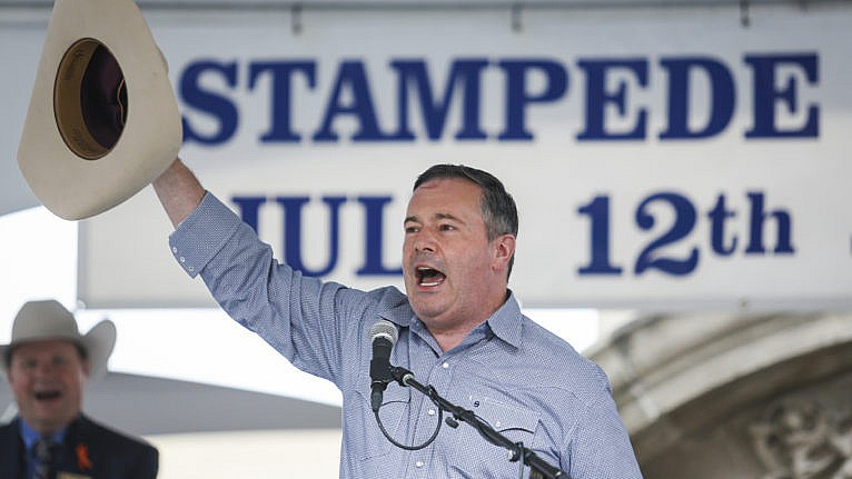 Jason Kenney speaks on July 12 at the Premier's annual Stampede breakfast in Calgary. (Jeff McIntosh/CP)