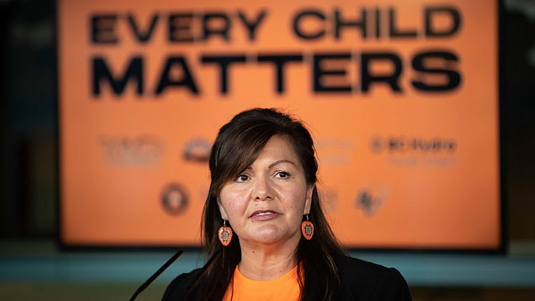 Tk'emlúps te Secwépemc Kúkpi7 (Chief) Rosanne Casimir speaks after the B.C. Lions CFL football team announced they would recognize the first National Day for Truth and Reconciliation on Sept. 30 at their Sept. 24 game against Saskatchewan, in Vancouver, on Thursday, September 16, 2021. Orange t-shirts with an Indigenous B.C. Lions logo by Kwakwaka'wakw-Tlingit artist Corrine Hunt will be handed out to 10,000 people at the game and tickets will be provided to 350 residential school survivors to attend. THE CANADIAN PRESS/Darryl Dyck
