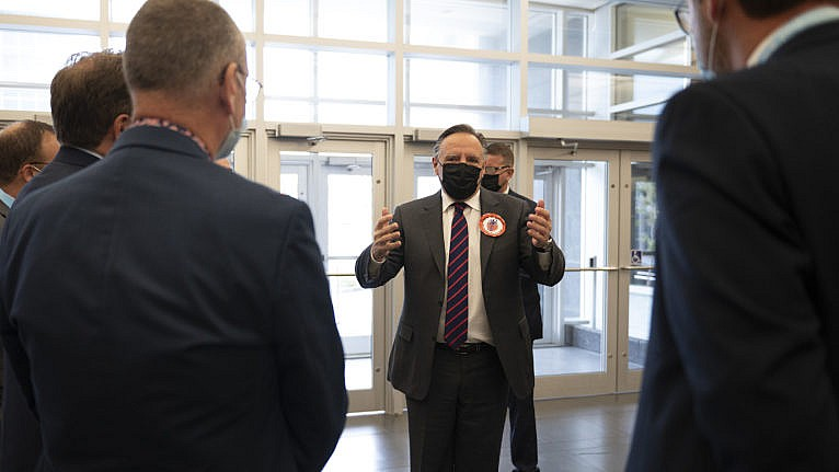 Legault arrives to speak at the opening the the Federation Quebecois des Municipalite's annual congress on Sept. 30, 2021 in Quebec City (Jacques Boissinot/CP)
